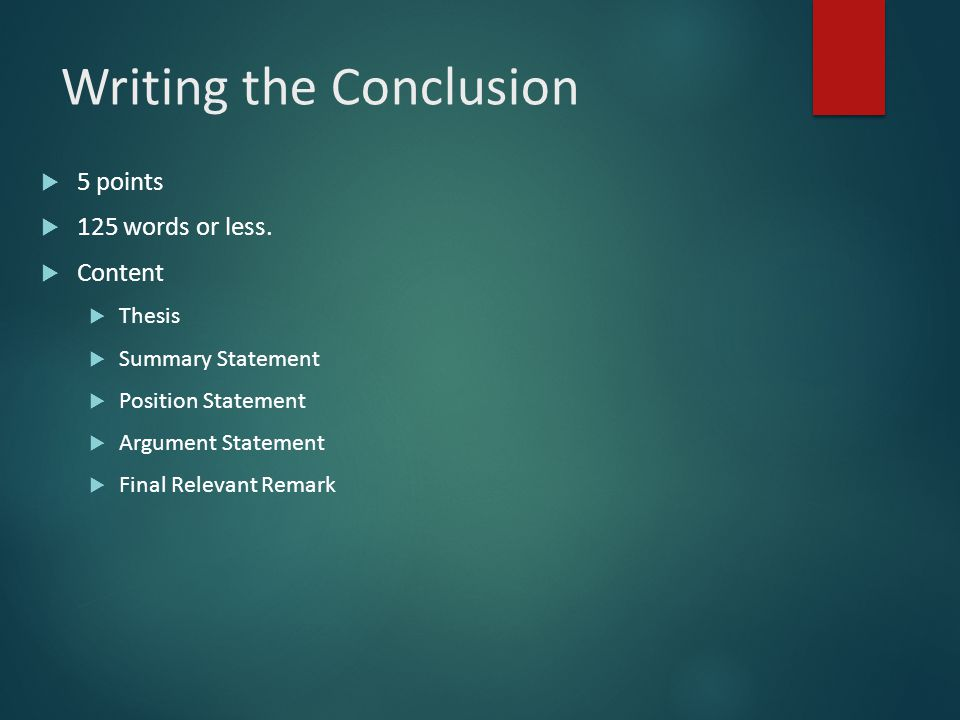 Writing the Conclusion
