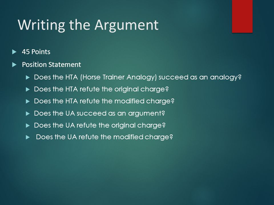 Writing the Argument 45 Points Position Statement