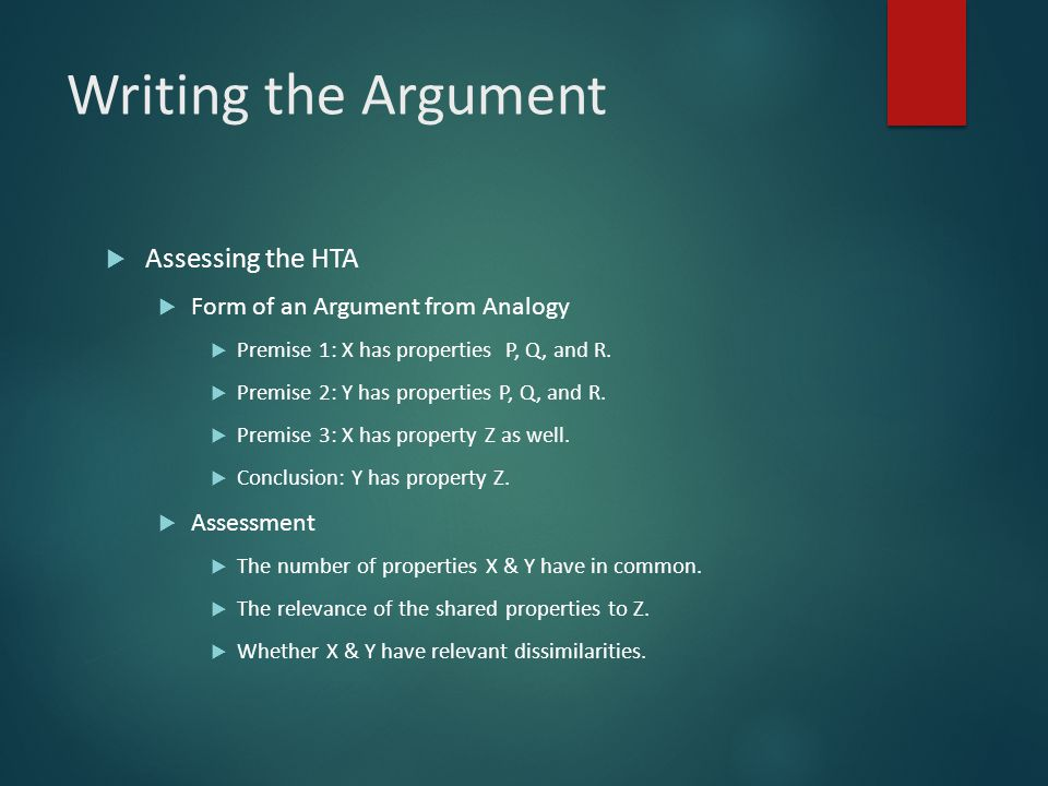 Writing the Argument Assessing the HTA