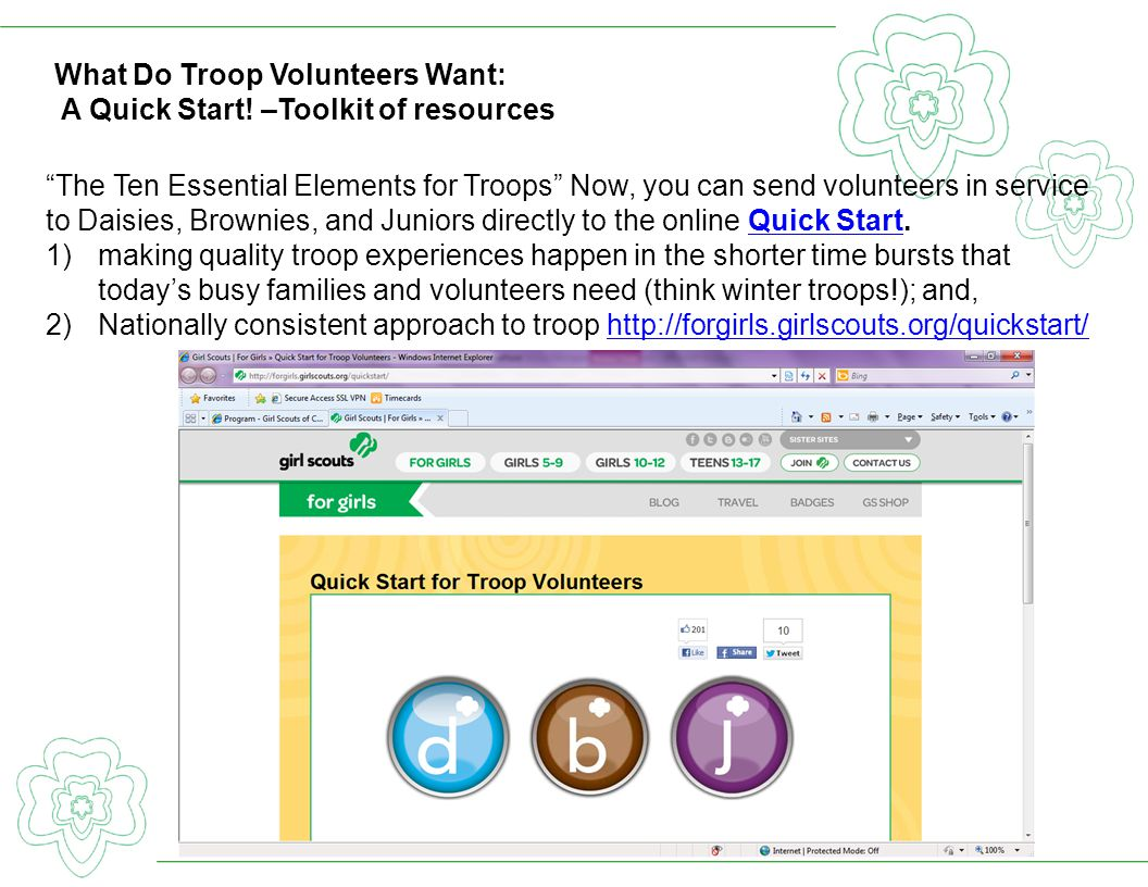 What Do Troop Volunteers Want: A Quick Start! –Toolkit of resources