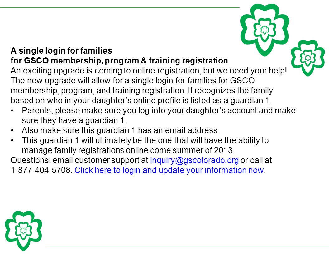 A single login for families
