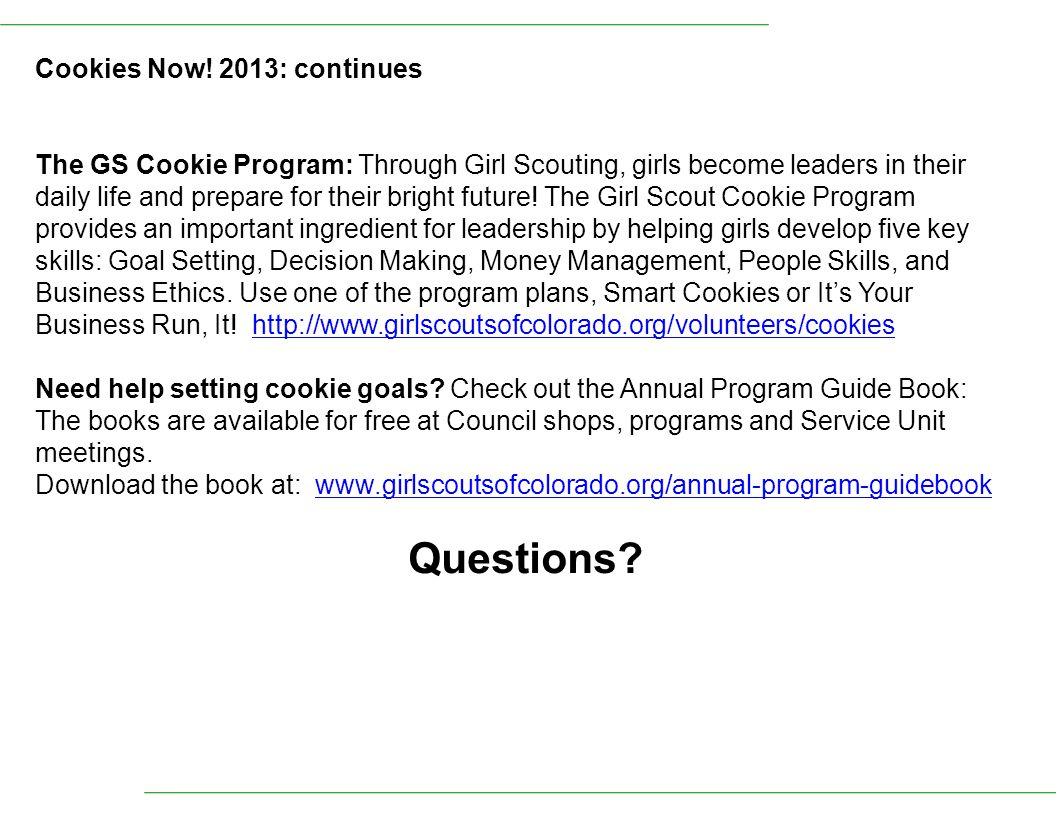 Questions Cookies Now! 2013: continues
