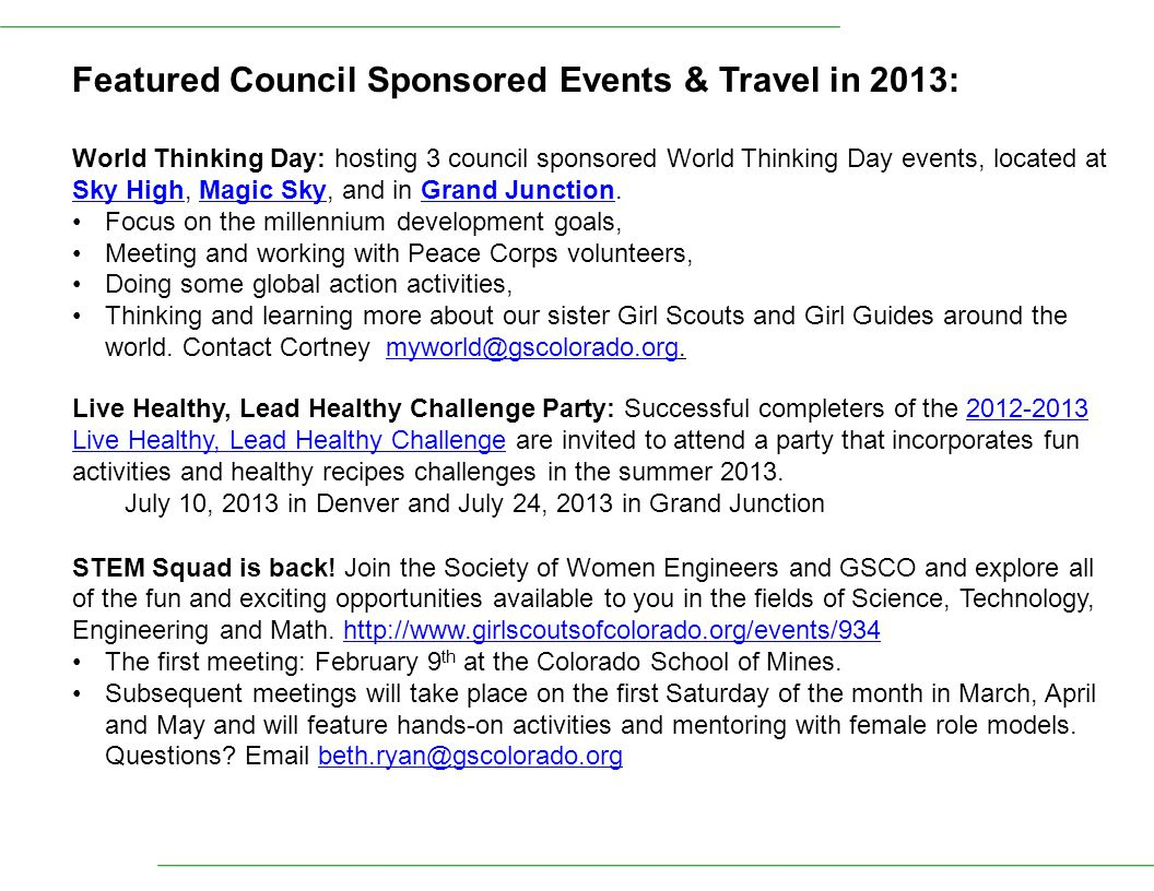 Featured Council Sponsored Events & Travel in 2013: