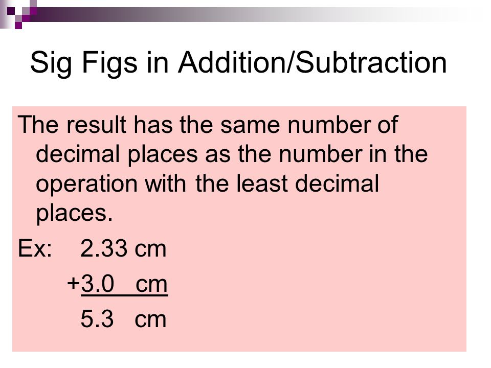 Sig Figs in Addition/Subtraction