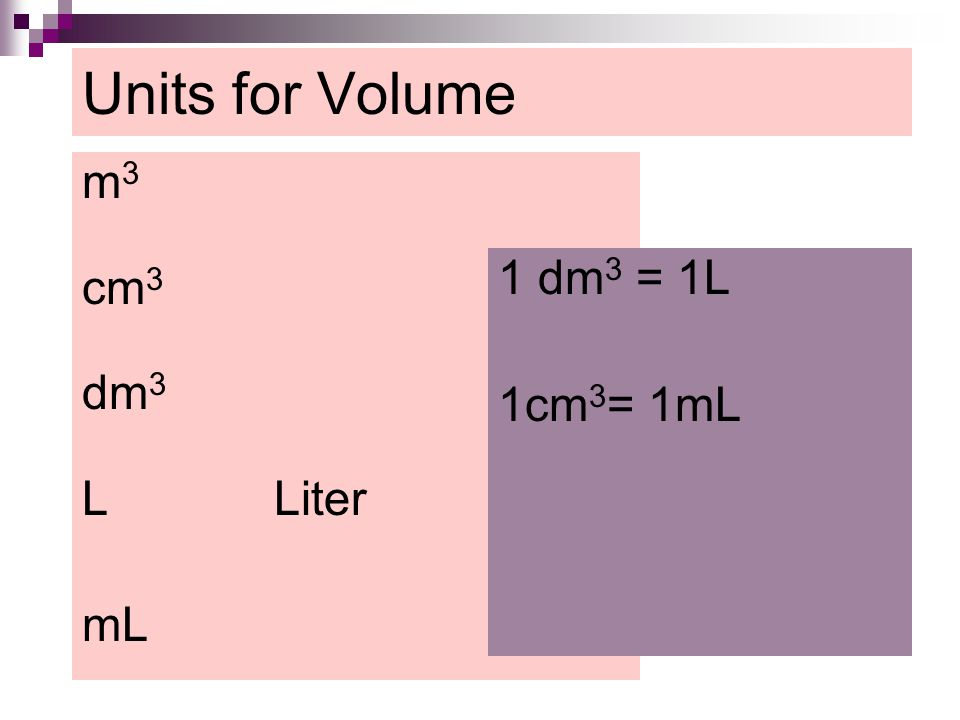 Units for Volume m3 cm3 dm3 L Liter mL 1 dm3 = 1L 1cm3= 1mL