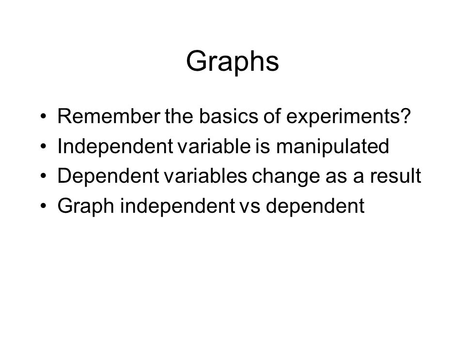 Graphs Remember the basics of experiments