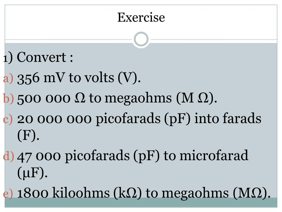 20 000 000 picofarads (pF) into farads (F).