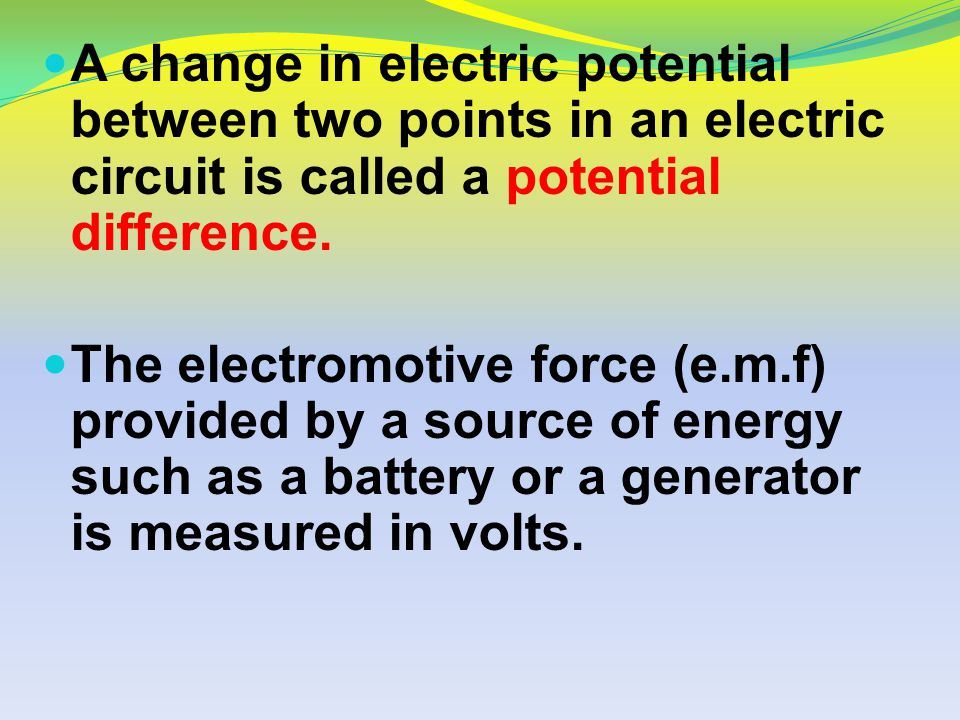 A change in electric potential between two points in an electric circuit is called a potential difference.