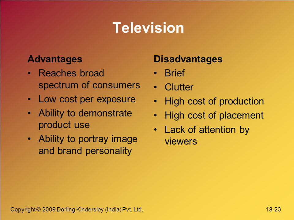 Television Advantages Reaches broad spectrum of consumers