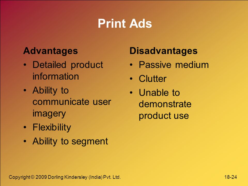 Print Ads Advantages Detailed product information