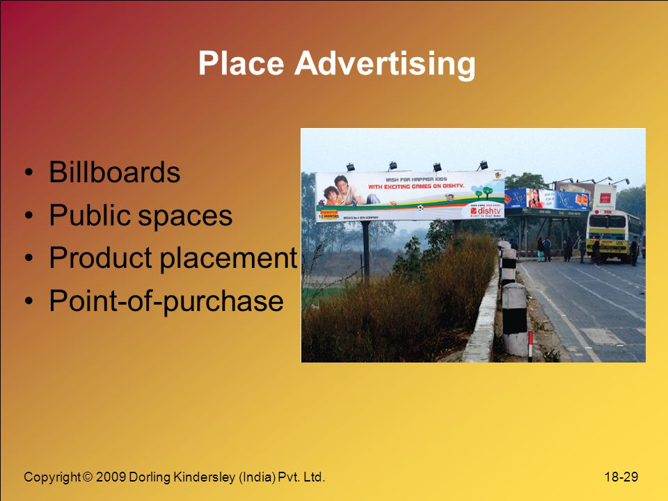 Place Advertising Billboards Public spaces Product placement