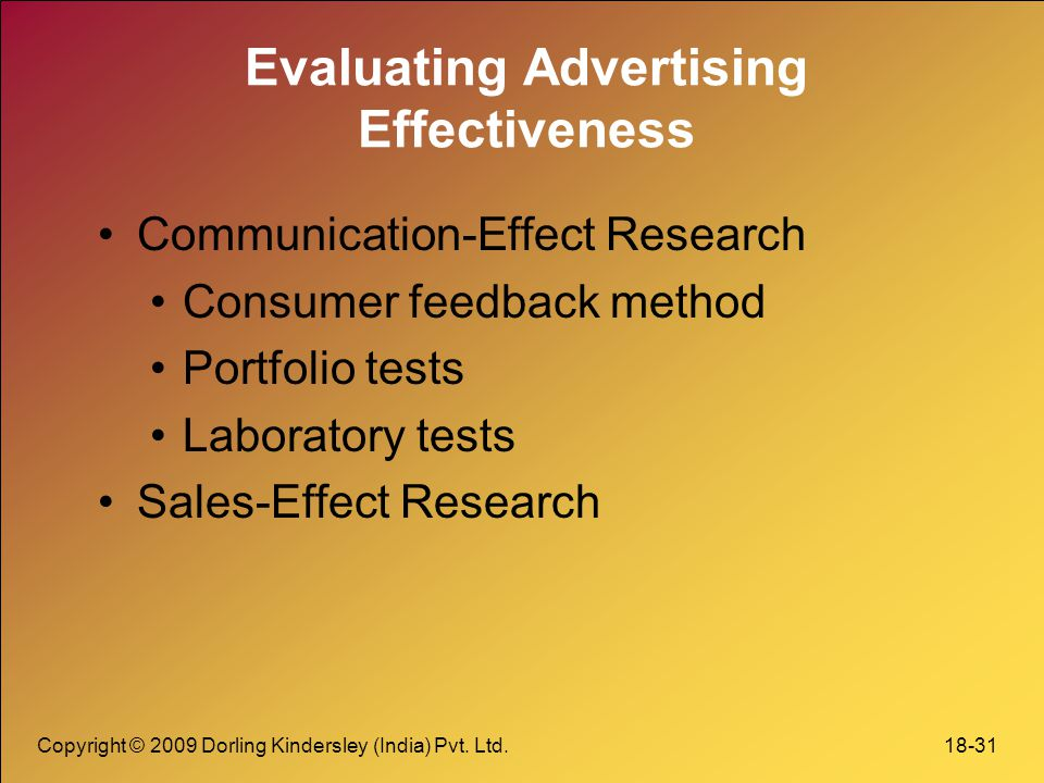 Evaluating the effects of advertising