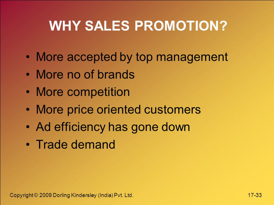 WHY SALES PROMOTION More accepted by top management More no of brands