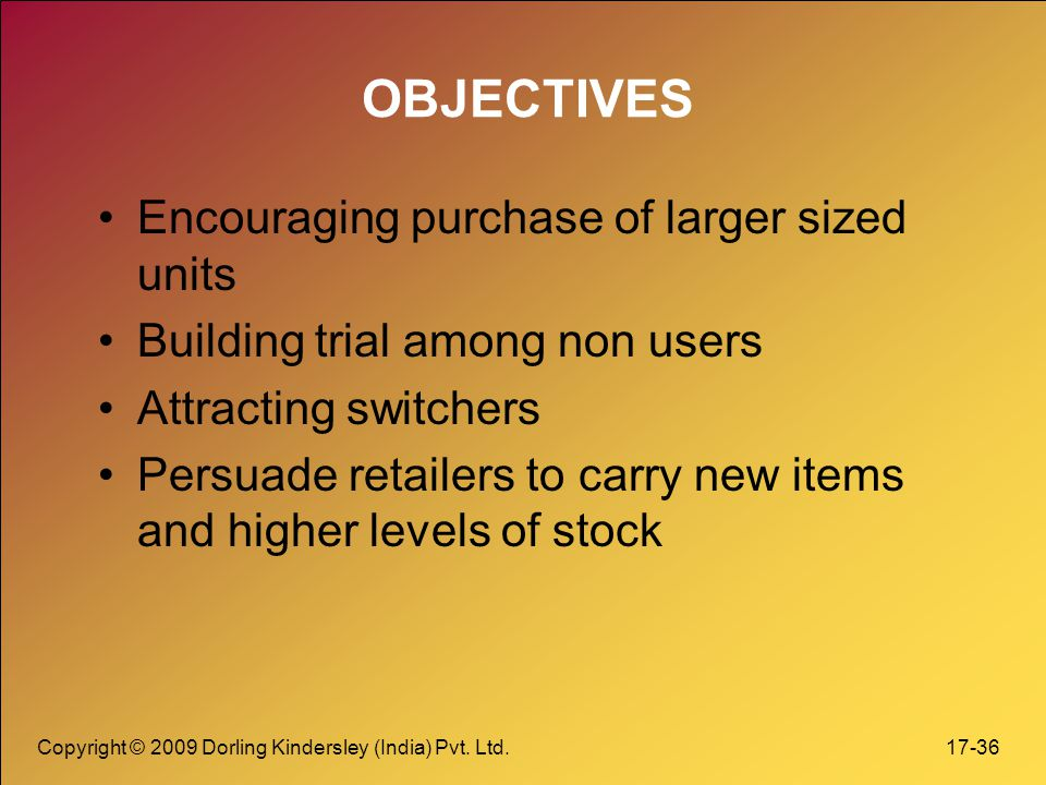 OBJECTIVES Encouraging purchase of larger sized units