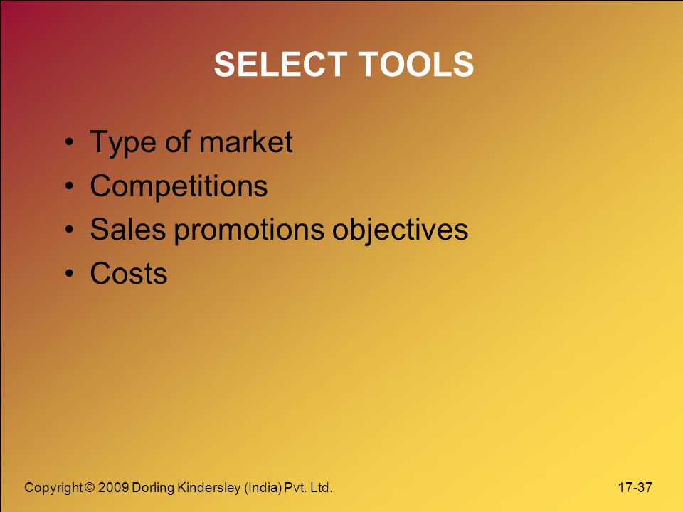 SELECT TOOLS Type of market Competitions Sales promotions objectives