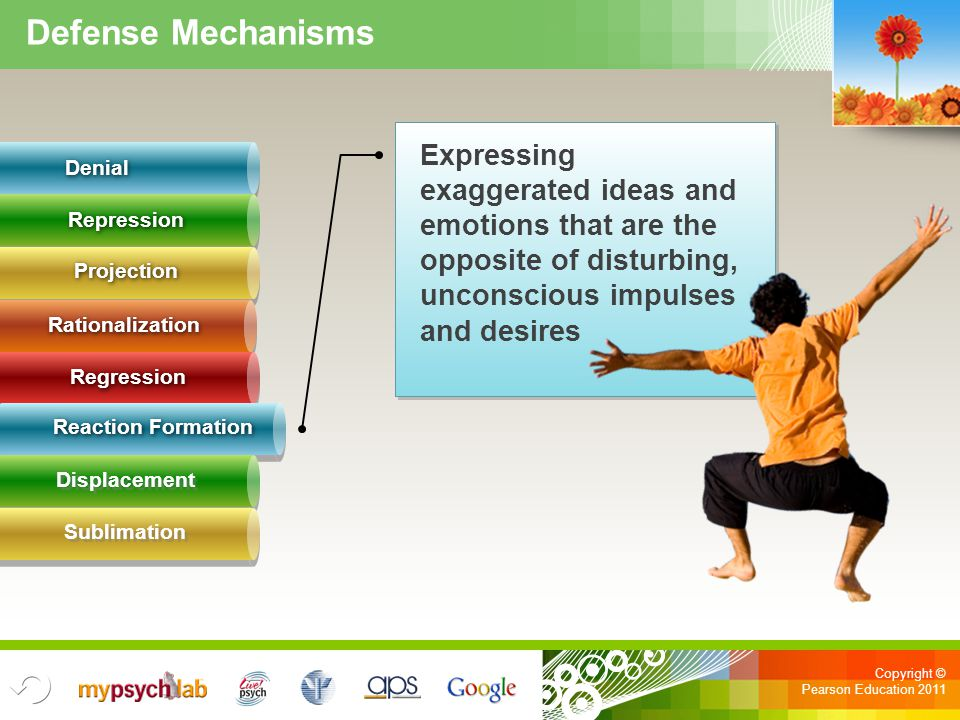 Defense Mechanisms Expressing exaggerated ideas and emotions that are the opposite of disturbing, unconscious impulses.