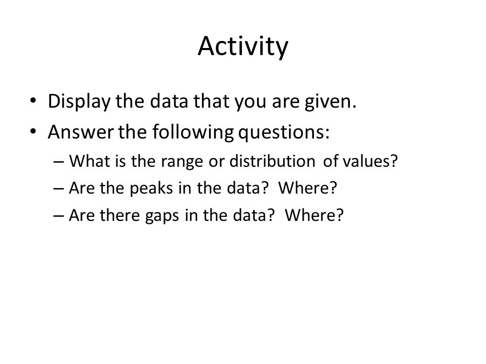 Activity Display the data that you are given.
