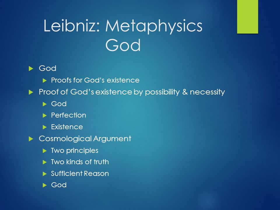Leibniz: Metaphysics God