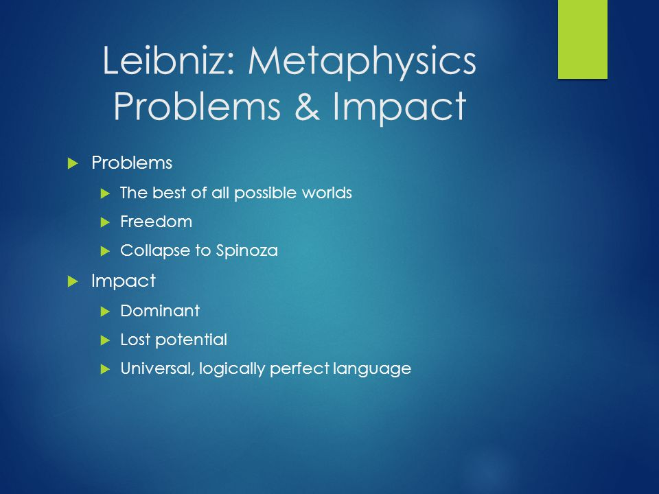 Leibniz: Metaphysics Problems & Impact