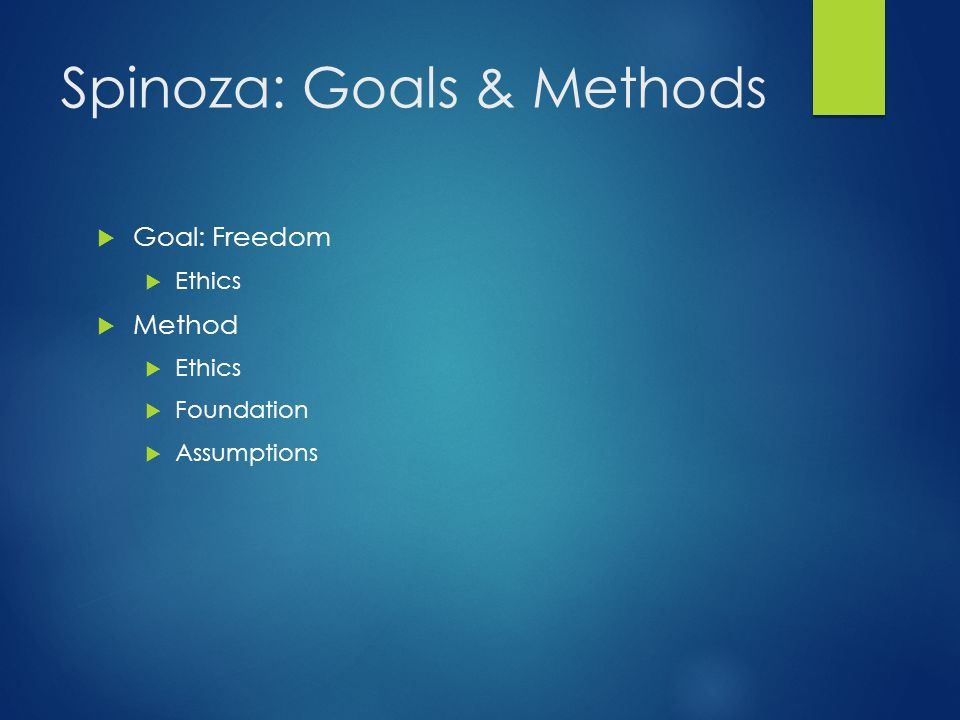 Spinoza: Goals & Methods