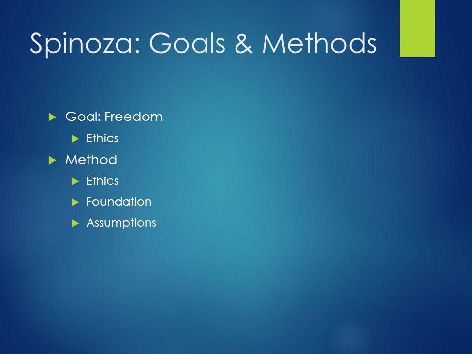 Spinoza: Goals & Methods
