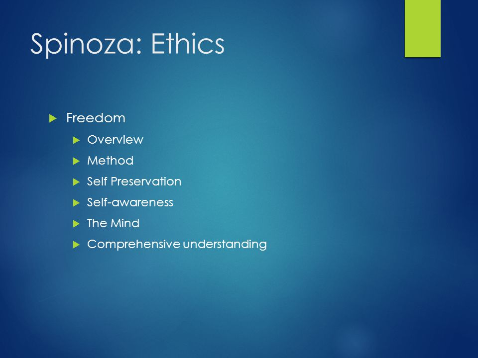 Spinoza: Ethics Freedom Overview Method Self Preservation