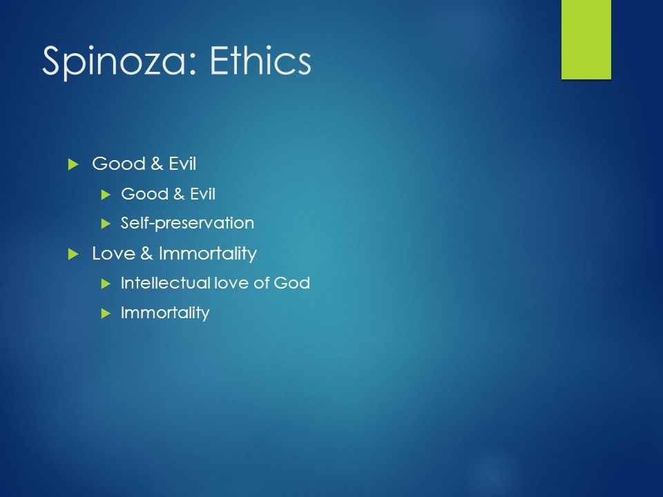 Spinoza: Ethics Good & Evil Love & Immortality Self-preservation
