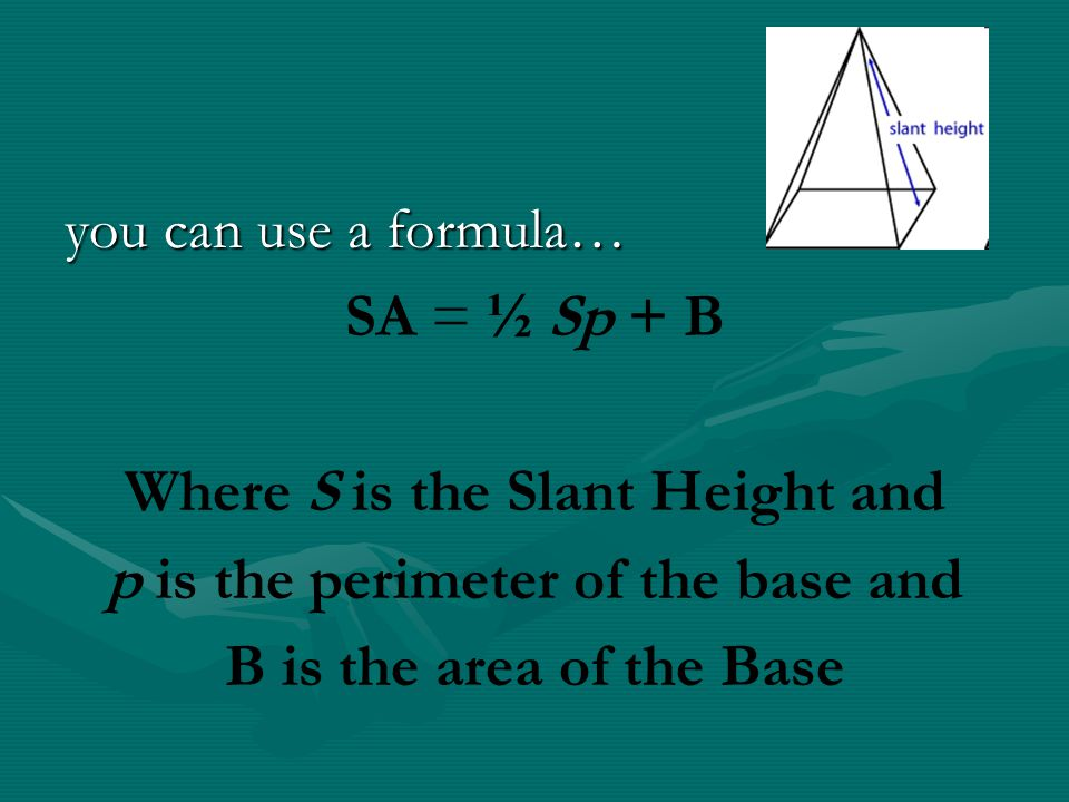 Where S is the Slant Height and p is the perimeter of the base and