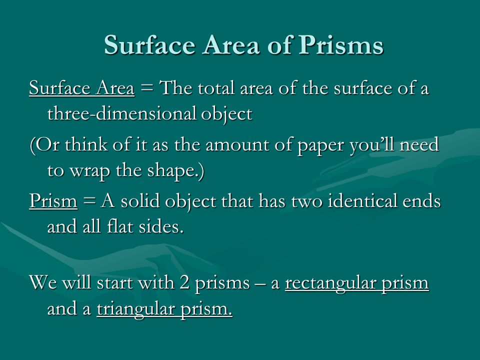 Surface Area of Prisms Surface Area = The total area of the surface of a three-dimensional object.