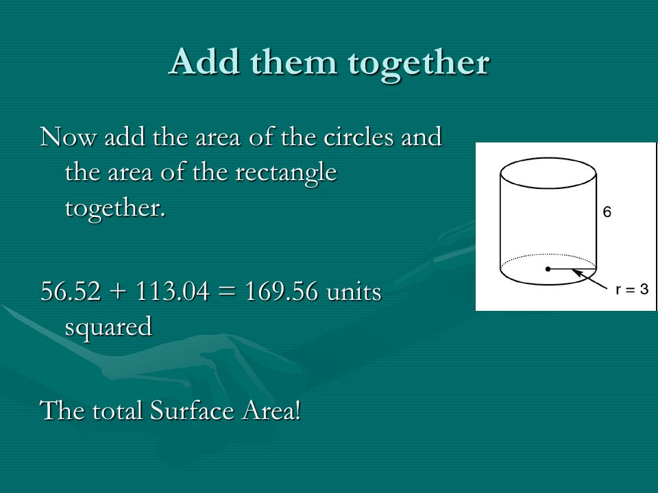 Add them together Now add the area of the circles and the area of the rectangle together. 56.52 + 113.04 = 169.56 units squared.