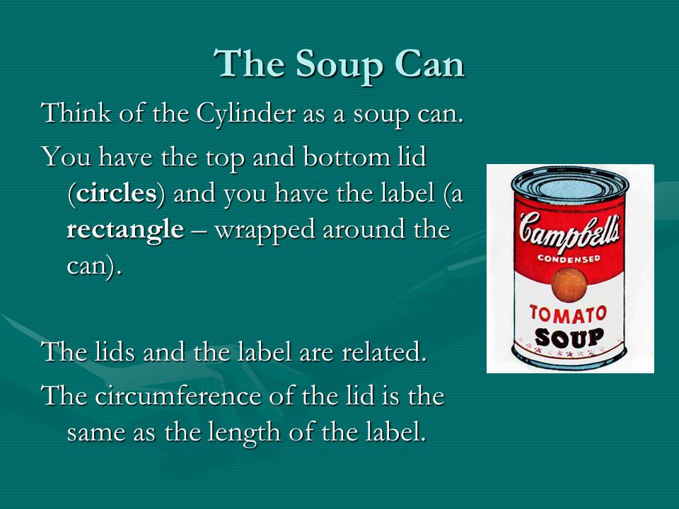 The Soup Can Think of the Cylinder as a soup can.