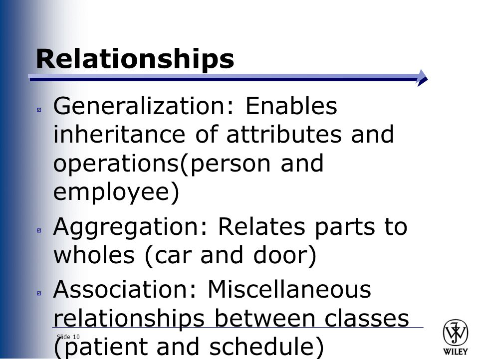 Relationships Generalization: Enables inheritance of attributes and operations(person and employee)