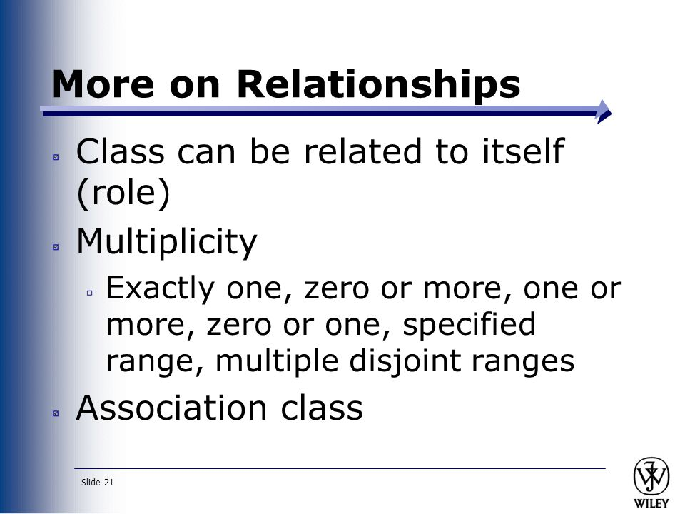 More on Relationships Class can be related to itself (role)