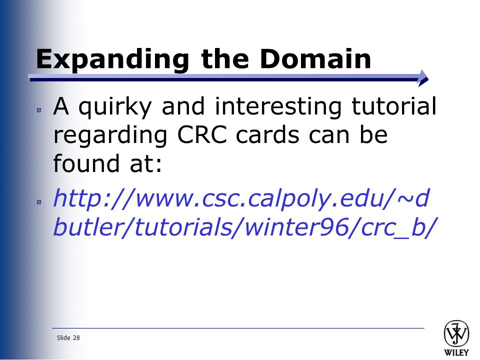 Expanding the Domain A quirky and interesting tutorial regarding CRC cards can be found at: