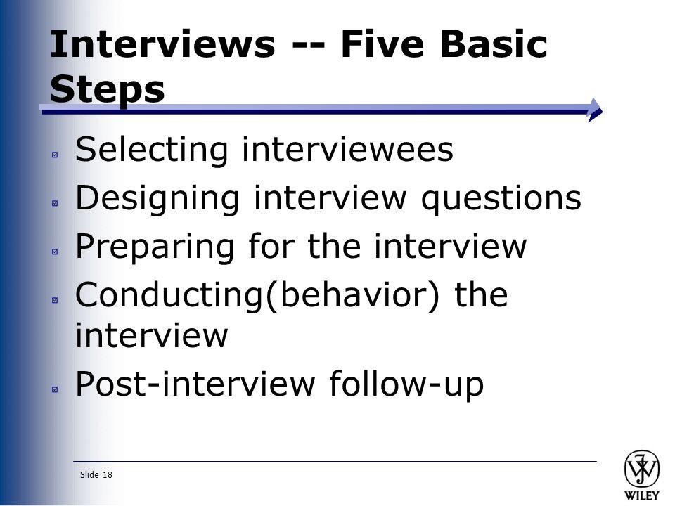 Interviews -- Five Basic Steps