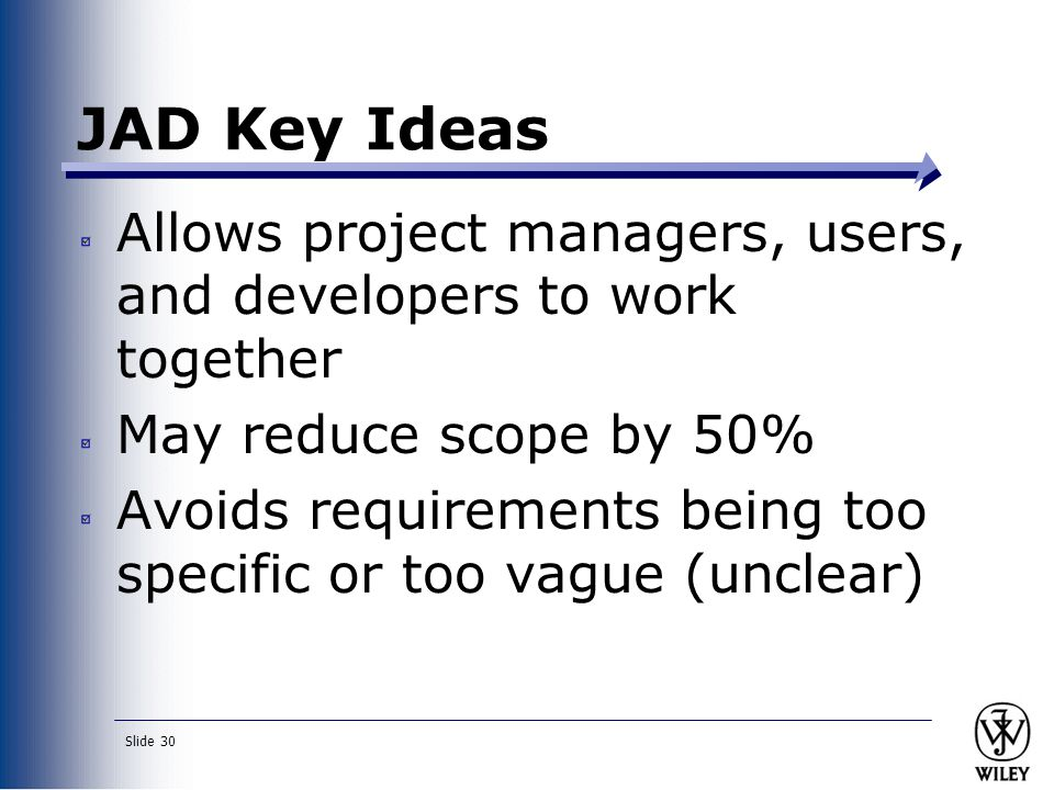 JAD Key Ideas Allows project managers, users, and developers to work together. May reduce scope by 50%