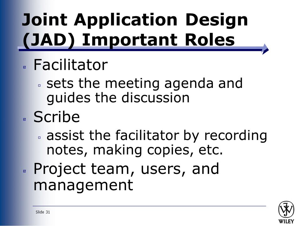 Joint Application Design (JAD) Important Roles