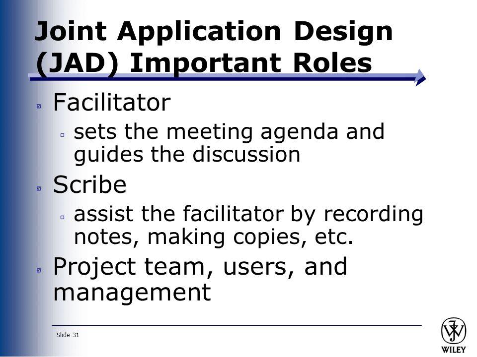 Joint Application Design (JAD) Important Roles