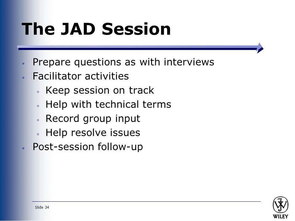 The JAD Session Prepare questions as with interviews