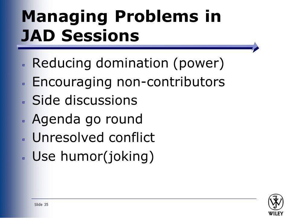 Managing Problems in JAD Sessions