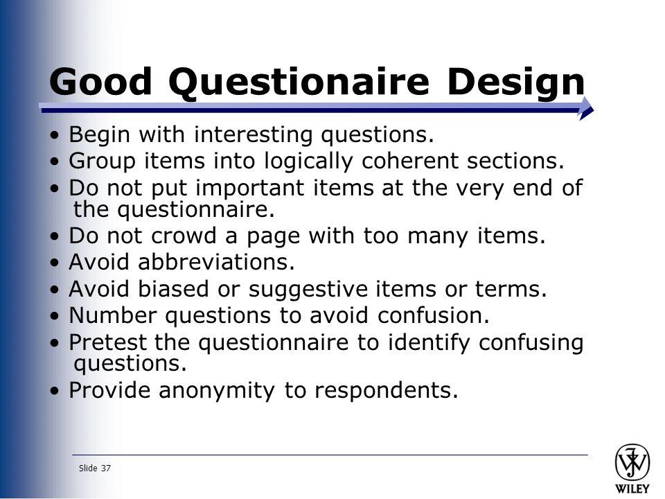 Good Questionaire Design