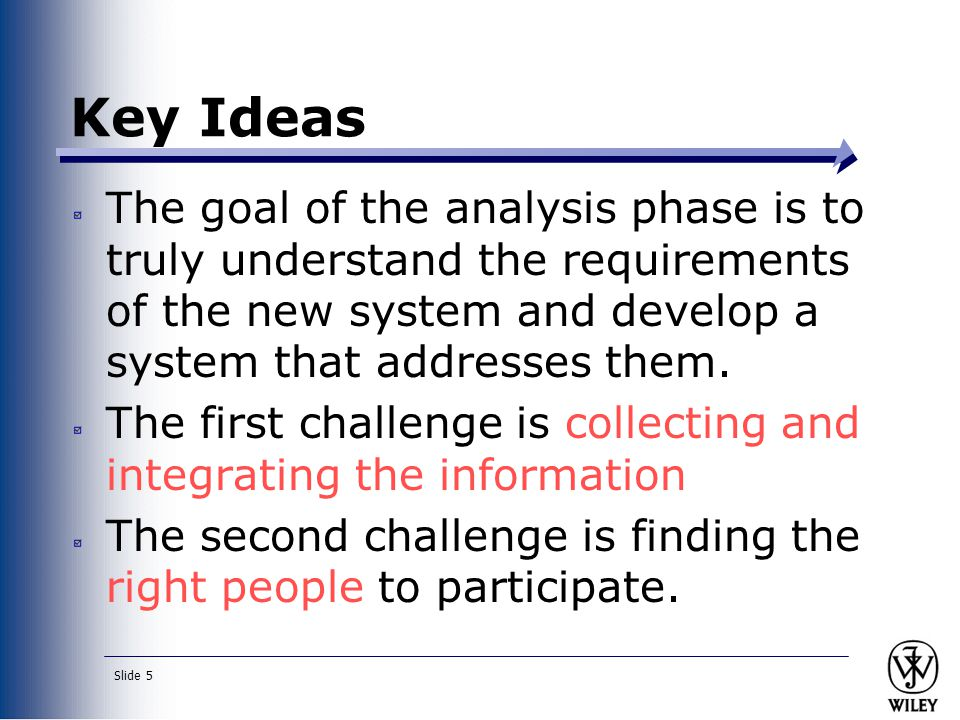 Key Ideas The goal of the analysis phase is to truly understand the requirements of the new system and develop a system that addresses them.