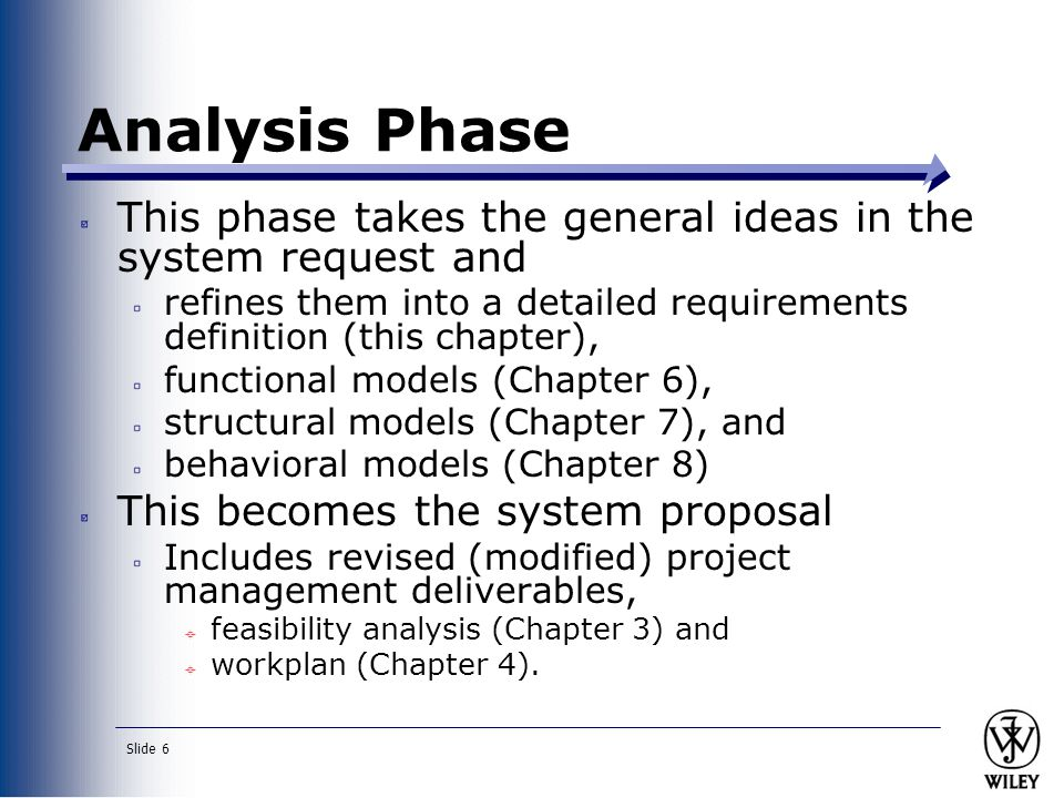Analysis Phase This phase takes the general ideas in the system request and. refines them into a detailed requirements definition (this chapter),