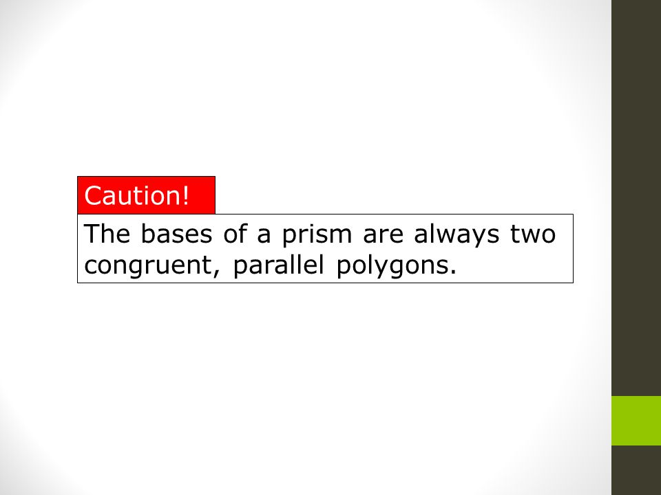 The bases of a prism are always two congruent, parallel polygons.