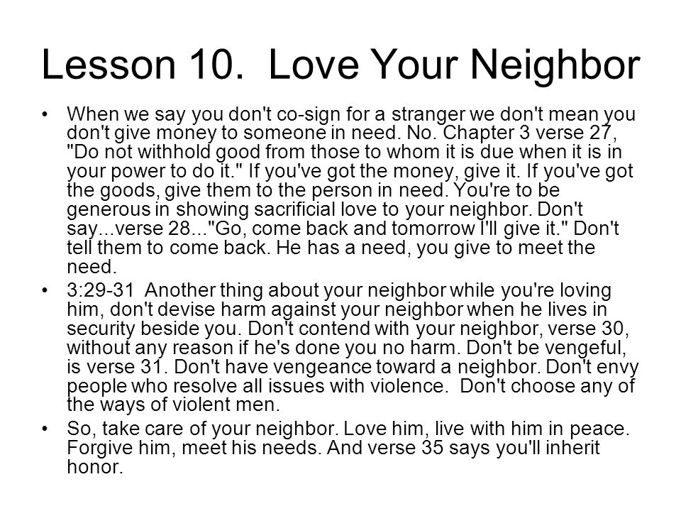 Lesson 10. Love Your Neighbor
