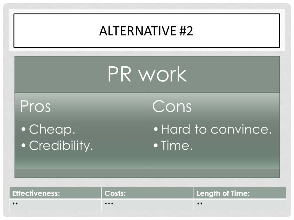 PR work Pros Cons Alternative #2 Cheap. Credibility. Hard to convince.
