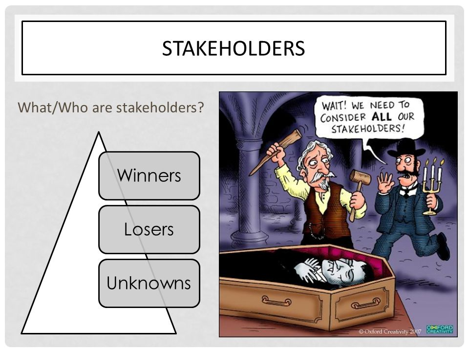 Stakeholders What/Who are stakeholders Winners Losers Unknowns