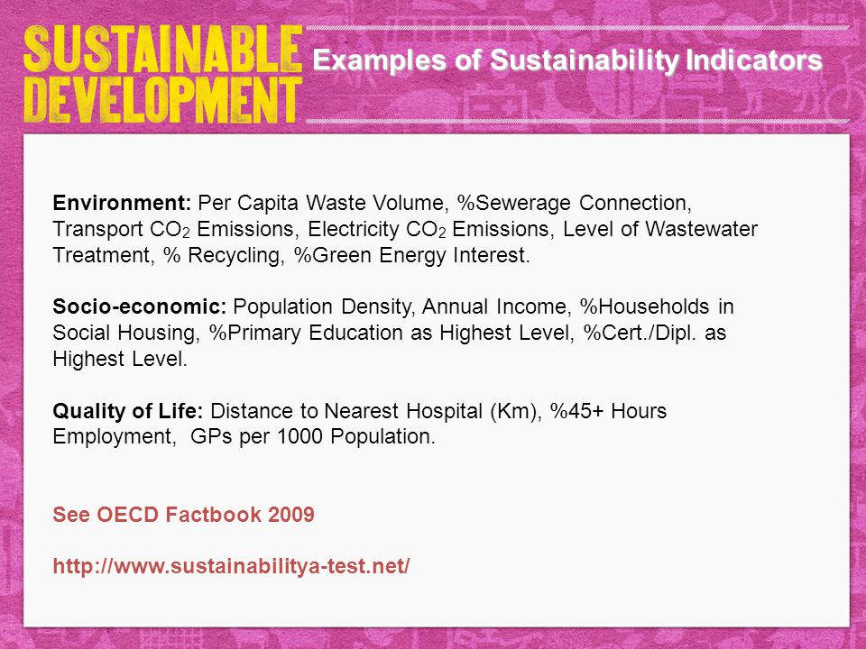 Examples of Sustainability Indicators
