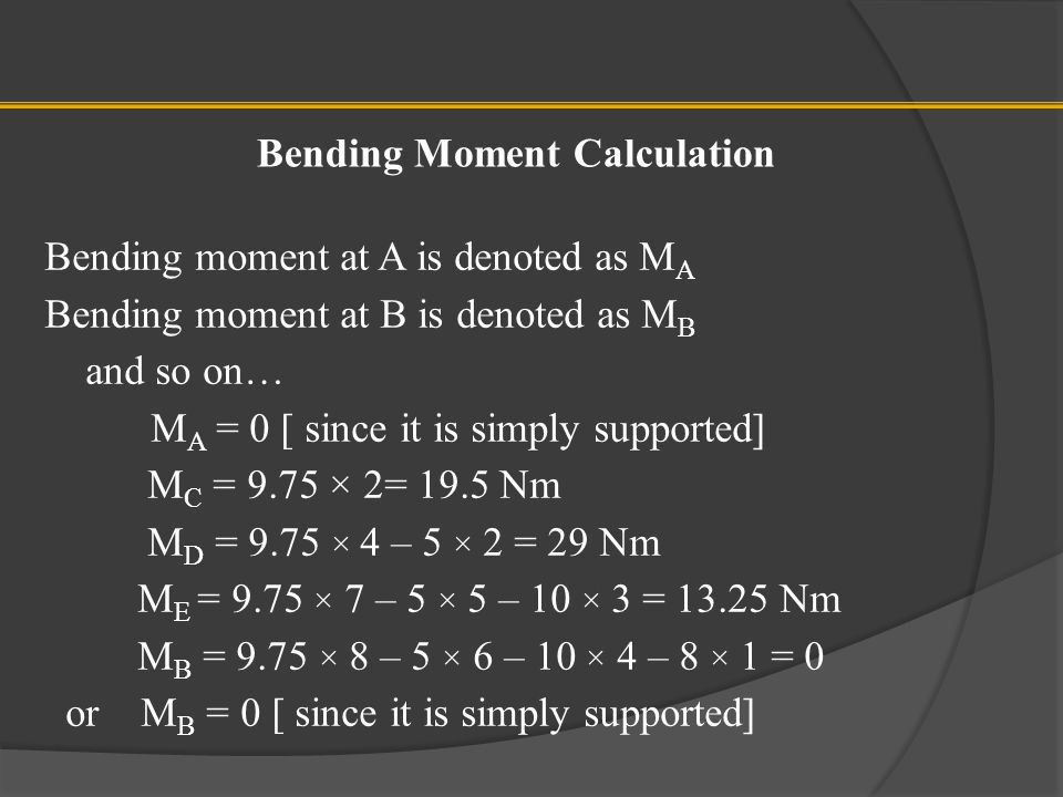 Bending Moment Calculation