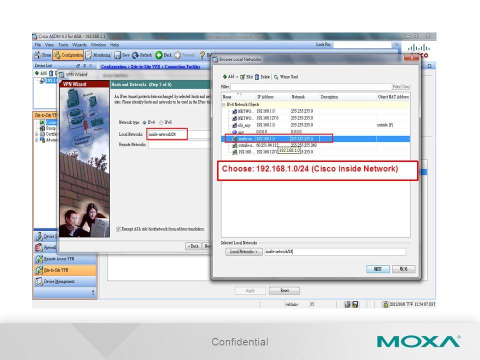 Choose: 192.168.1.0/24 (Cisco Inside Network)